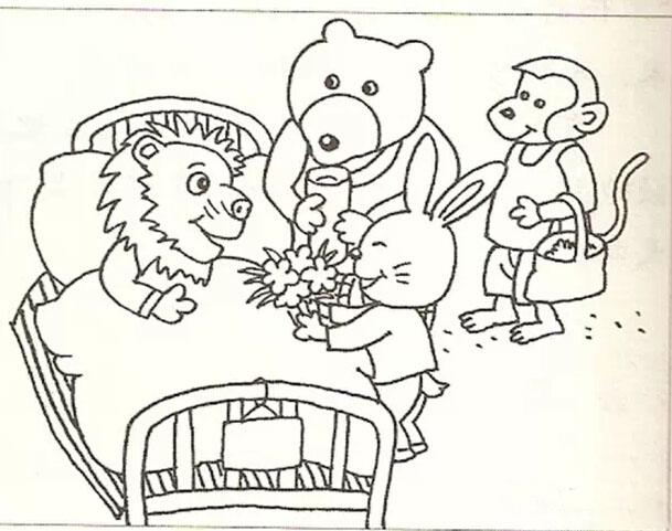 一天,小兔高高兴兴地到树林里采蘑菇。一不小心摔了一跤,篮子里的蘑菇满地乱跑。小兔伤心地哭了。 晚饭以后,妈妈忙着洗碗。我们大家坐在客厅里,有的看报,有的看电视,还有的写作业。一家人其乐融融。 冬天到了,雪花飘满大地,小朋友们在雪地里堆雪人。雪人堆好了,小明又把自己的帽子和围巾给它戴上。他们三个人围着雪人又跳又笑。  星期六的早上,阳光明媚。冬冬和兰兰在公园里的大树下做操。胸前的红领巾在太阳的照射下显得更加鲜艳了。  植树节来了,老师带领同学到山上植树,为祖国绿化荒山,大家可高兴了。你看,小东扶着小树,兰
