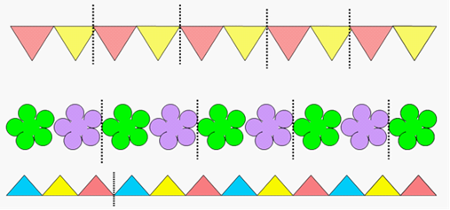 要求:通过活动发现图形和数字简单的排列规律.